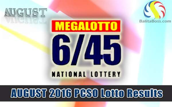 August 2016 MegaLotto 6/45 PCSO Lotto Results