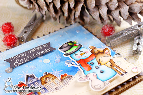 Holiday Wishes for a Deer Friend Card by Ellen Haxelmans | Festive Fawns Stamp Set, Snow Globe Scene Stamp Set, Starfield Stencil and Sea and Land Border Die Sets by Newton's Nook Designs #newtonsnook #handmade