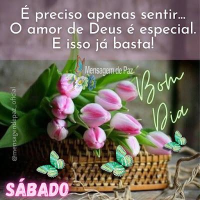 É preciso apenas sentir... O amor de Deus é especial. E isso já basta! Bom Dia! Feliz Sábado!
