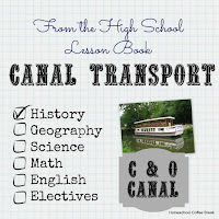From the High School Lesson Book - Canal Transport on Homeschool Coffee Break @ kympossibleblog.blogspot.com - Learn about transportation advances in America following the War of 1812, with a focus on the C&O Canal in Maryland #homeschool #highschool #UShistory