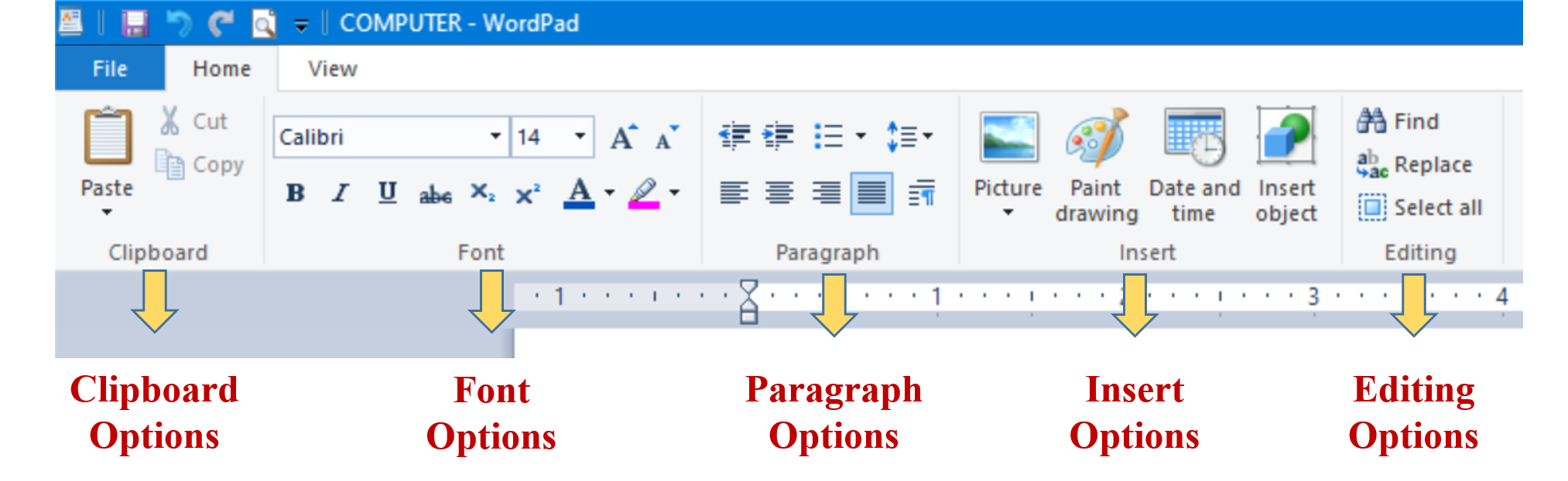 Using Home Tab in WordPad