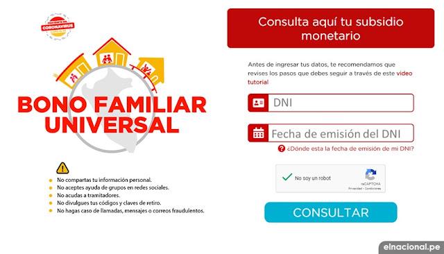 Bono Universal Familiar; Segundo Padrón agosto - LINK oficial bonouniversalfamiliar.pe - consulta con DNI si cobras el bono del Gobierno del Perú