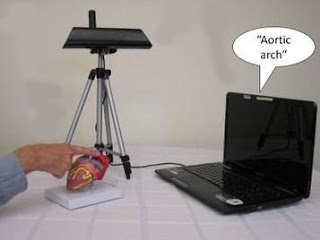 The CamIO system consists of a laptop computer and a camera and enables users to explore any 3-D or 2-D object. By holding a finger on an object, users prompt the system to provide audio feedback.