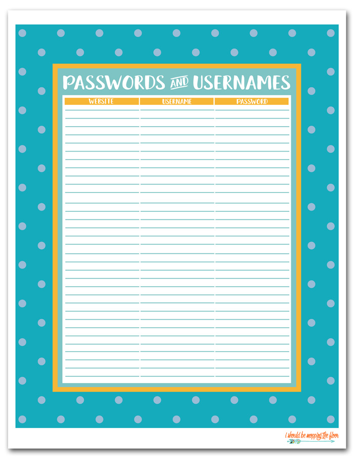 Password Manager Printable