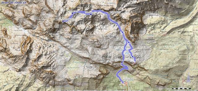 Mapa de la Ruta a la Torre Blanca por la Canal de la Jenduda desde Fuente Dé