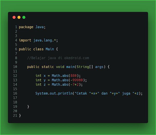 Contoh method .abs() class Math java