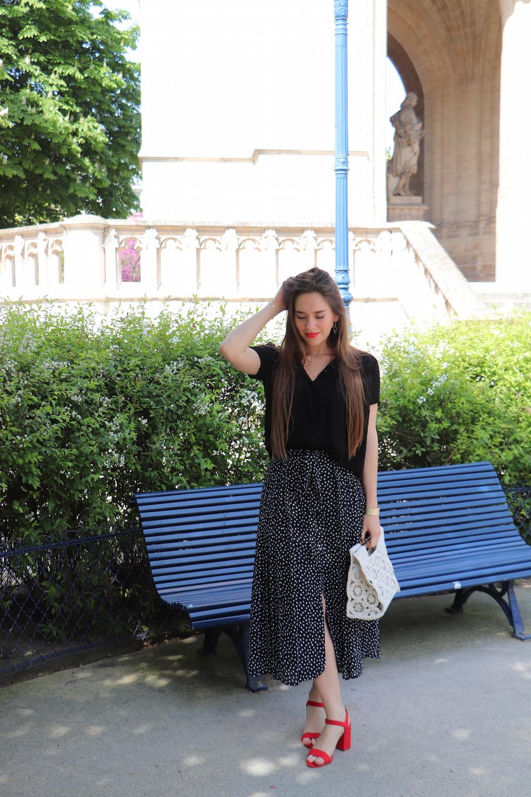 jupe longue plissée à pois 2