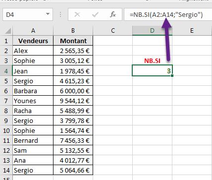 Exemple de la fonction NB.SI