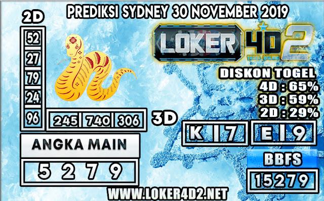 PREDIKSI TOGEL SYDNEY LOKER4D2 30 NOVEMBER 2019