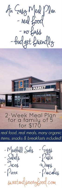 2 Week Meal Plan for a Family of 5 for $170 at ALDI