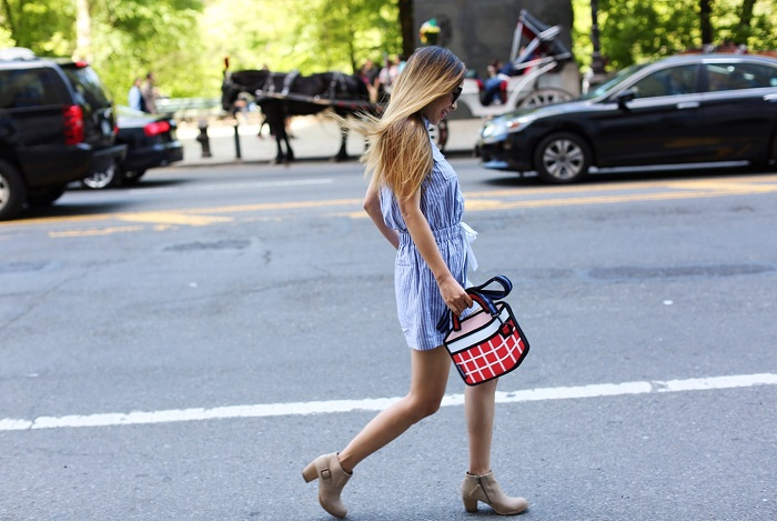 Kate Spade linen cotton stripe romper, kate spade romper, stripe romper, jump from papager bag, ankle booties, karen walker super dumper sunglasses, spring style in nyc, nyc street style
