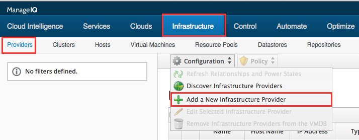 Elastic Sky Labs: ManageIQ with vSphere: Providers