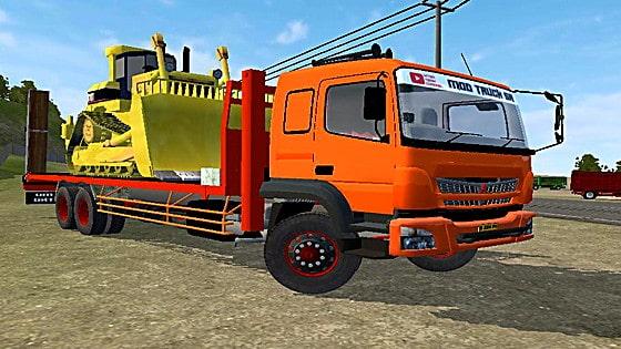 mod bussid truck fuso fj selfloader muatan bulldozer