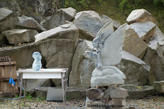 Stone carving  Cava Nardini quarry - ballerina and pinocchio on dove sculpture