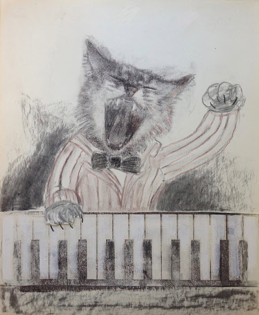 #Pianist #Piano #Cat #concert #choir #art #drawing #illustration print pianokeys striped suit bowtie