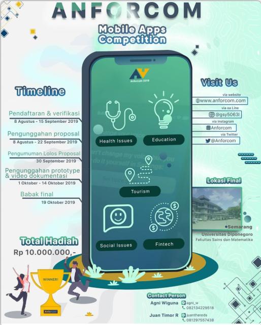Lomba Programming Mobile Apps Nasional ANFORCOM 2019 Untuk Mahasiswa