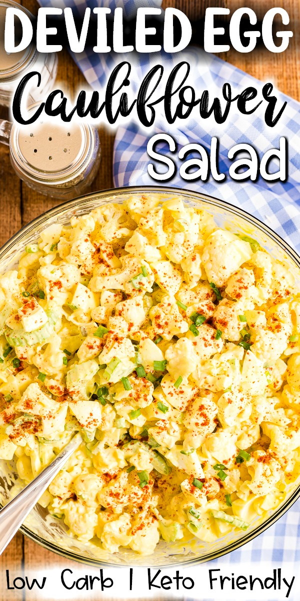 Deviled Egg Cauliflower Salad - This low carb, keto-friendly  Deviled Egg Cauliflower Salad recipe is easy to make and will quickly replace any potato salad recipe you have ever used! #keto #lowcarb #deviledegg #cauliflower #salad #potatosalad #sidedish | bobbiskozykitchen.com