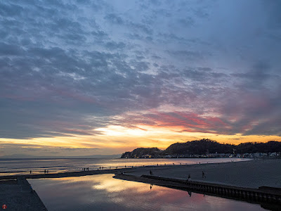 Setting sun: Yuigahama-beach