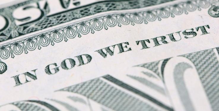 """Lema """"En Dios Confiamos"""" en dólar"""