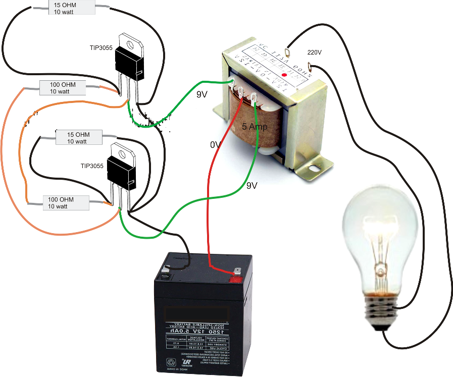 Simple Inverter Circuit Diagram on basic 12 volt battery wiring