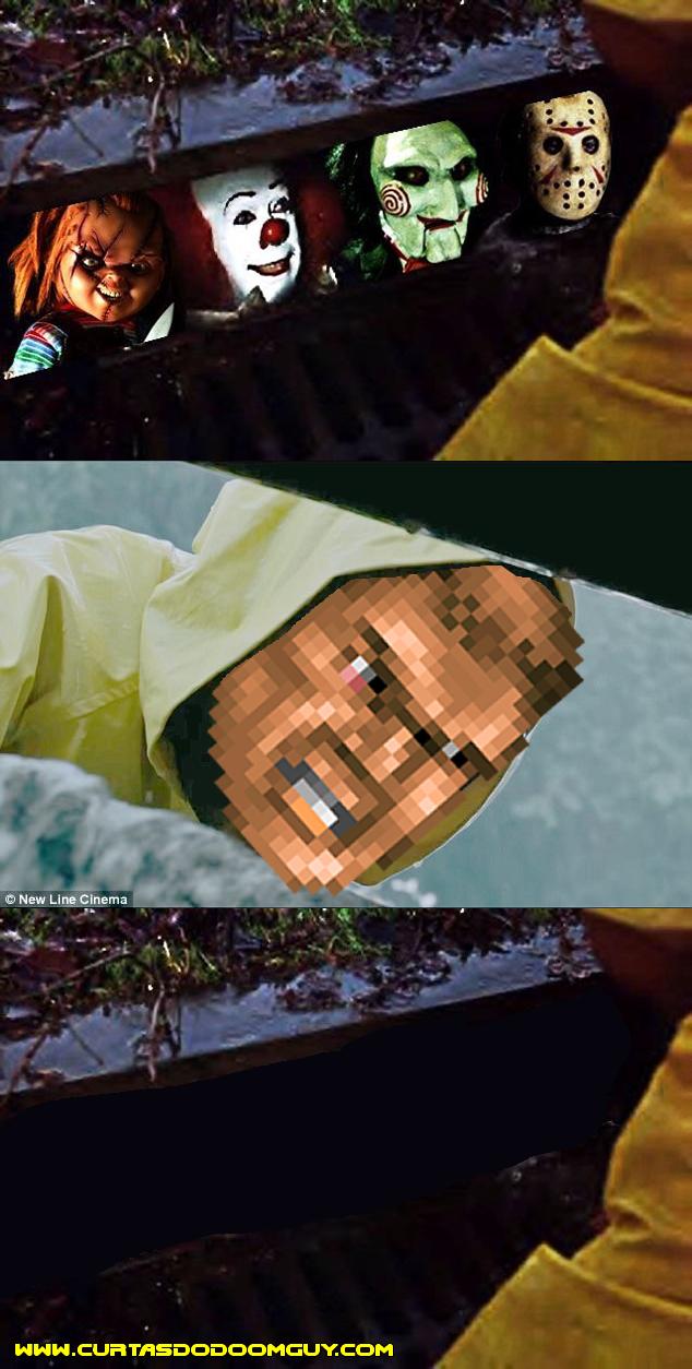 Doomguy assustando monstros de filmes de terror