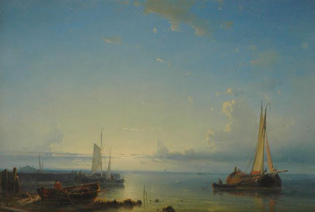 Abraham Hulk - Moored fishing boats at sunset