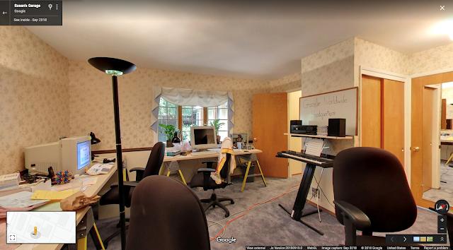 Eine StreetView Aufnahme der Google Garage von innen
