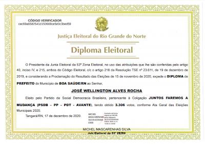 Diplomas dos eleitos 2020