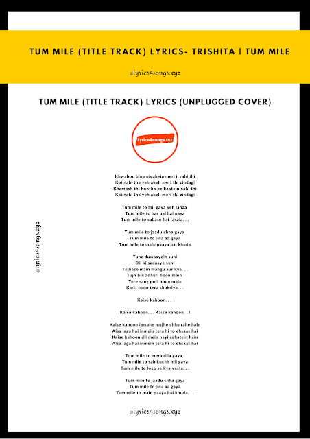 TUM MILE (TITLE TRACK) LYRICS Trishita | Tum Mile | Lyrics4songs