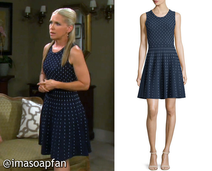 Jennifer Horton, Melissa Reeves, Days of Our Lives, Navy Blue Dot Print Dress