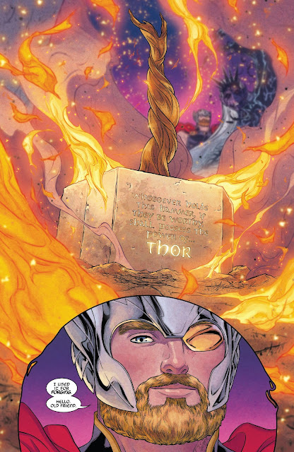 Mjolnir lands on Midgard in front of Thor in War of the Realms Issue #6.