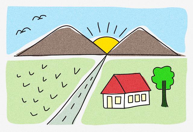 gambar gunung kartun berwarna