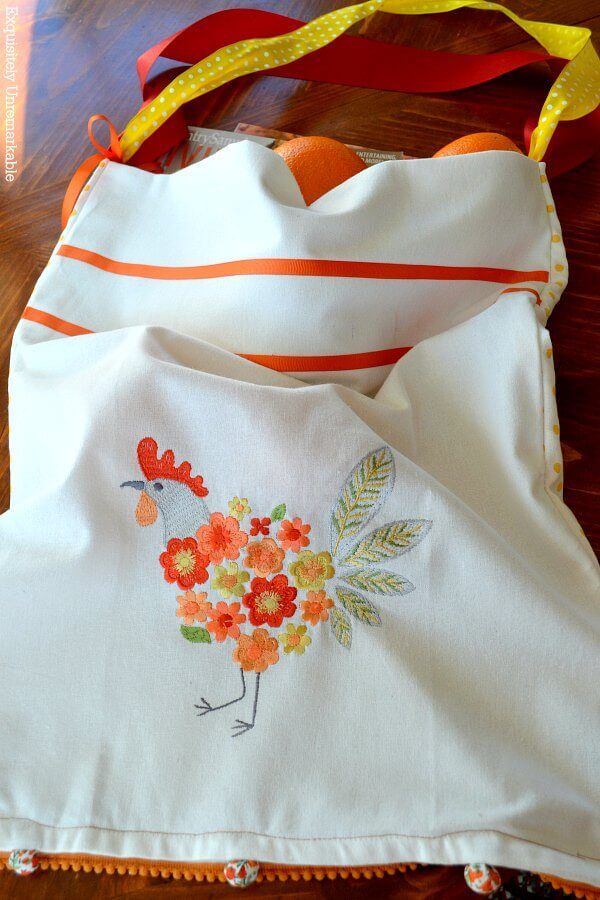 Kitchen Rooster Towel Tote Bag DIY