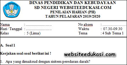 Soal PH / UH Kelas 5 Tema 4 Subtema 1 K13