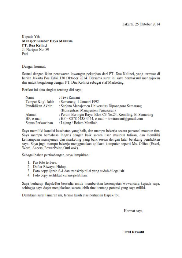 Contoh Surat Lamaran Kerja dari Koran