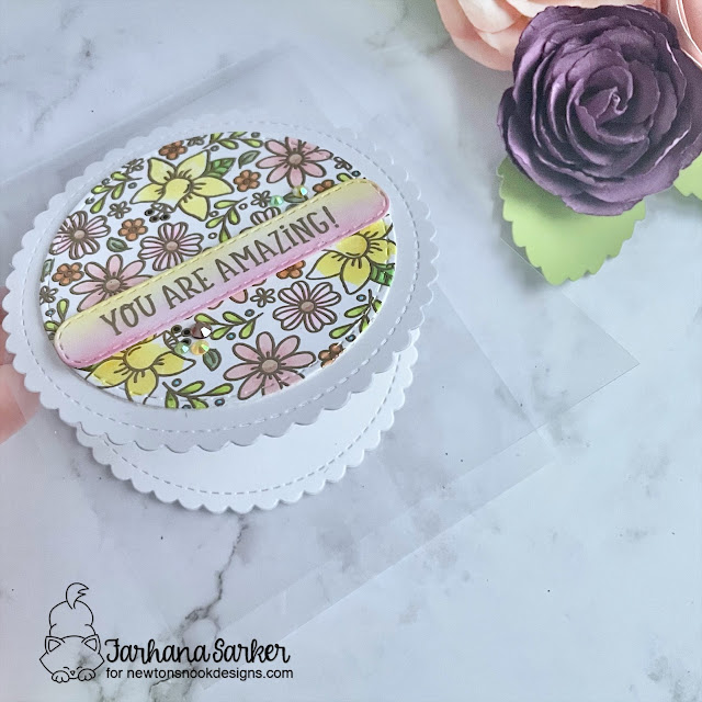 Spring Acetate Card by Farhana Sarker | Floral Roundabout Stamp Set, Circle Frames Die Set and Banner Trio Die Set by Newton's Nook Designs #newtonsnook