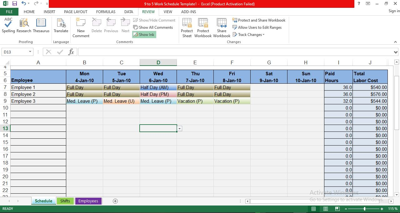 The workweek is laid out monday through sunday and calculates hours for you. Free Employee Work Schedule Template In Excel