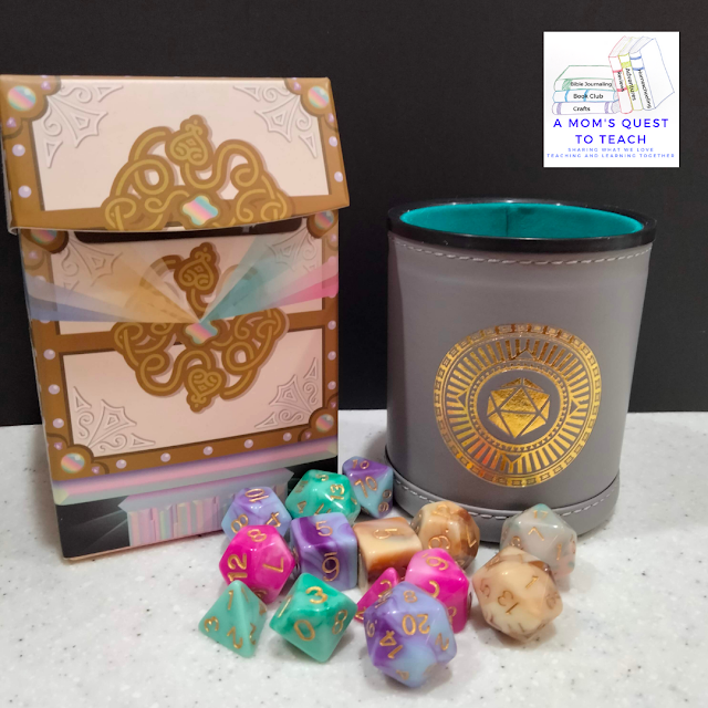 A Mom's Quest to Teach logo; Dice Wonder Cup