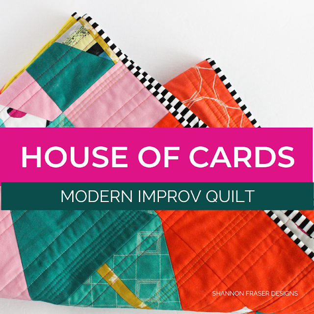 House of Cards | Modern Improv Quilt | Shannon Fraser Designs #modernquilt #improvquilting #aurifilthread #creativechallenge