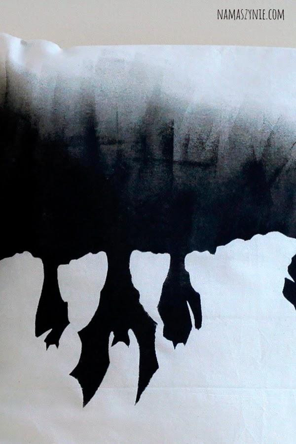 Poduchy z nadrukiem i ręcznie malowane, Poduszki z ogonem, kot, cat, zygzak, czarno-biała, czerń i biel, kociak, dla kociarzy, nietoperz, bat, wampir, vampire,
