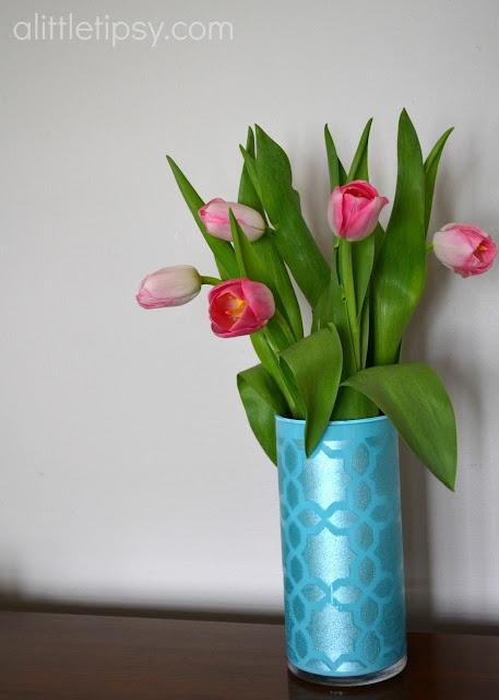 Acrylic Enamel Paint >> Stenciled Glass Vase #12MonthsofMartha - A Little Tipsy