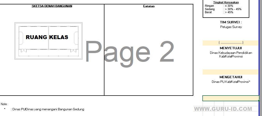 gambar formulir penilaian kerusakan dapodik dan denah sketsa