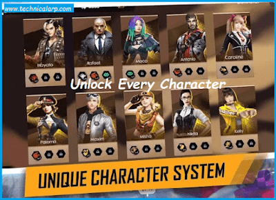 Free Fire Unlimited health mod apk - unlocked Characters