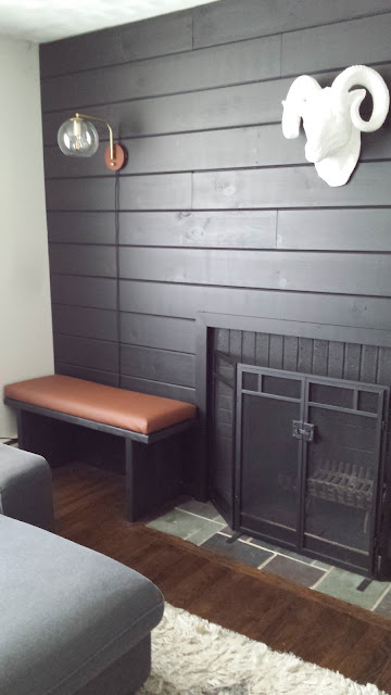 Black Shiplap Fireplace Wall