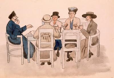 HKM:Ompeluseuran kävelyretki Munkkiniemeen; maalaus Forslund Olga, Tekijä 1916