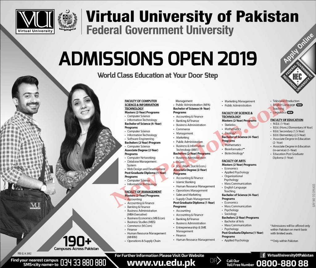 Virtual University of Pakistan VU Admissions Open 2019