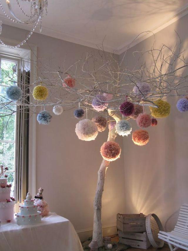 árbol navidad con pompones