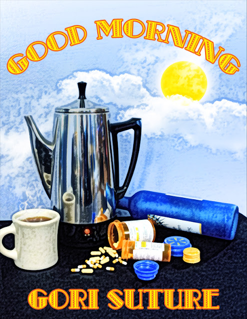 a coffee percolator, some pills, and a wine bottle in front of the sun and sky