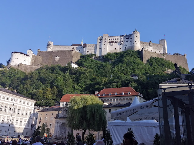 Hohensalzburg Fortress as seen from the Kapitelplatz square